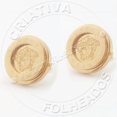 Brinco Ver Redondo Aço Inox Titanium Dourado