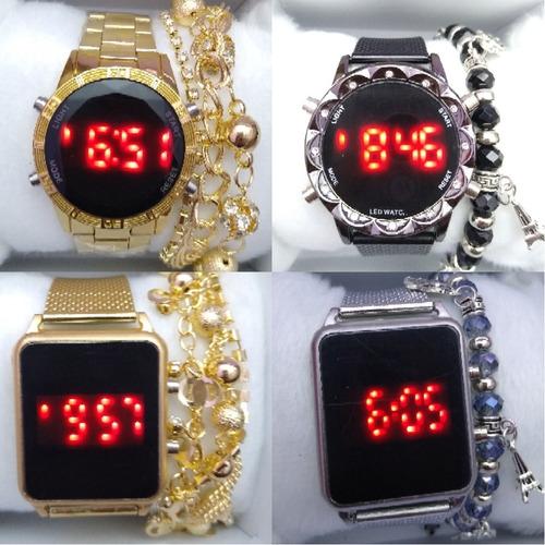 Lote Com 20 Relógios Digital Com Pulseiras E Caixa