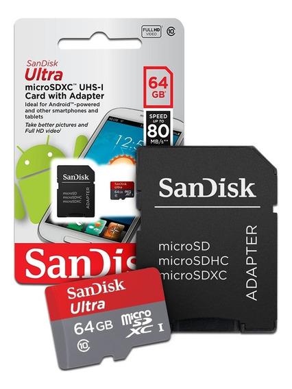 Cartão De Memoria 64gb Micro Sd Cl10 80mb/s Sdsqunc Sandisk