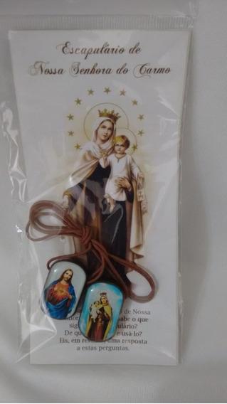 Escapulário Marrom Grande Com Folheto Presente Religioso