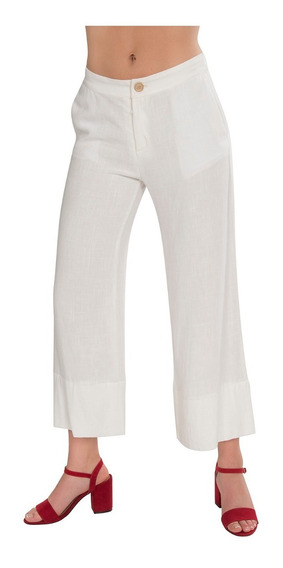 Pantalon Dama Ancho Flojo Liso Lino Blanco Moda W91124