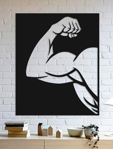 Imagem 1 de 2 de Quadro Decorativo Parede Academia Braço Musculoso 02 90cm