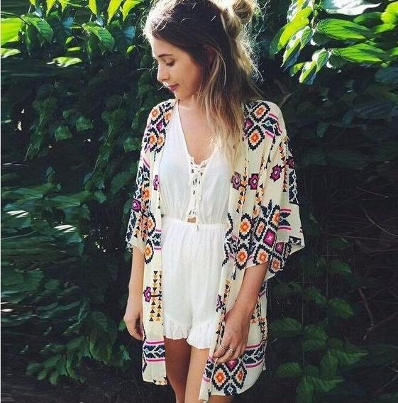 Hermosa Salida De Baño Vintage Kimono Cardigan