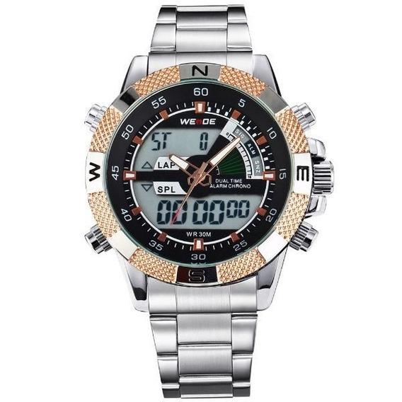 Relógio Masculino Weide Anadigi Wh-1104 Novo.detalhe Dourado
