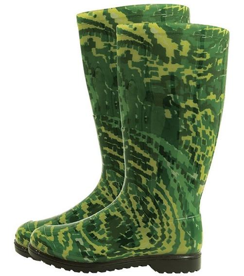 Bota Galocha Feminina Impermeável Cano Longo Verde M34