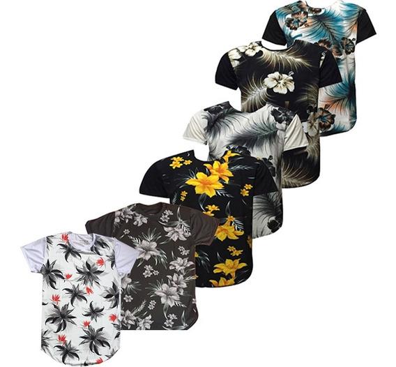 Kit 6 Camisa Masculino Estampa Floral Manga Curta Long Line