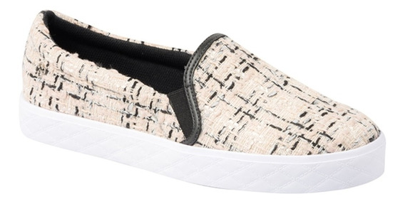 Tênis Feminino Capodarte Slip On Trama Tweed Bloche 4011512