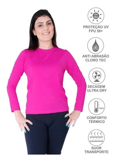2 Camiseta Feminina Proteção Solar Fps50+ Uv Antibactericida