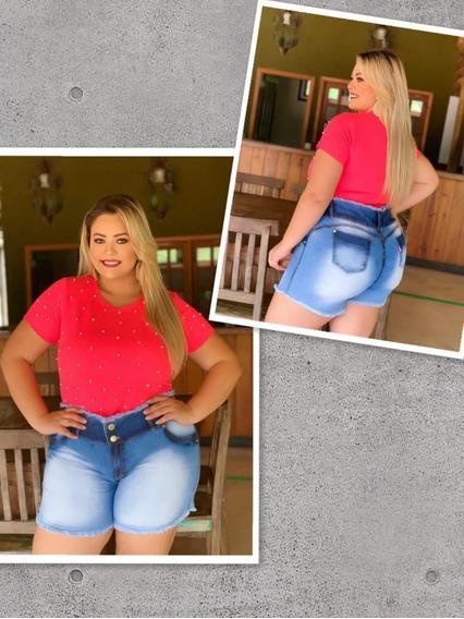 Bermuda Jeans Com Lycra Feminina Plus Size Tamanho Grande 04