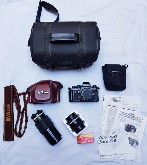 Câmera Fotográfica Nikon F3 50mm Com Acessórios *raridade*