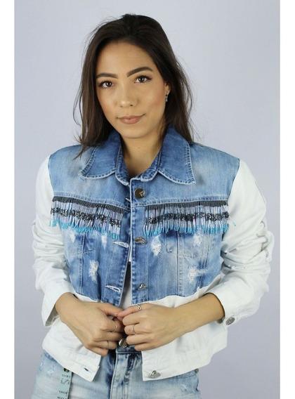 Jaqueta Jeans Com Franjas Feminina Razzo 300276
