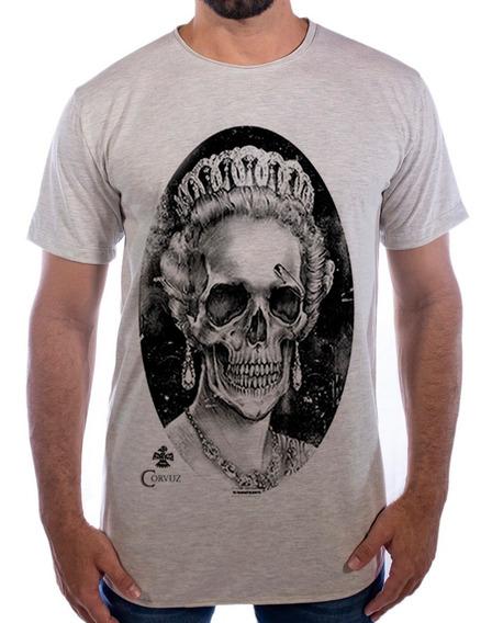 Camiseta Camisa Blusa Estampada Caveira Longline Alongada