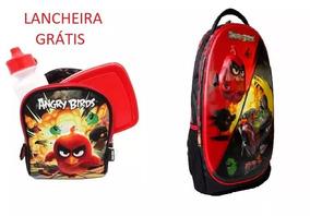 Mochila Angry Birds 3d Original + Brinde Lancheira Térmica