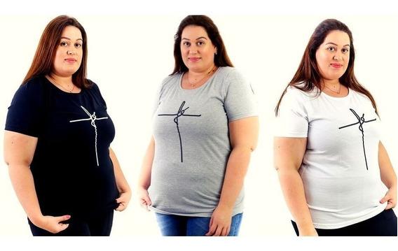 Kit 6 Camisetas Blusa Feminina Plus Size