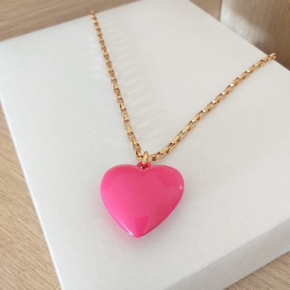 Colar De Coração Rosa Longo Sigvara