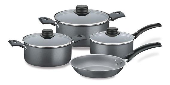 Set De Cocina Juego Turim Tramontina Teflón 7pz Tapa Vidrio