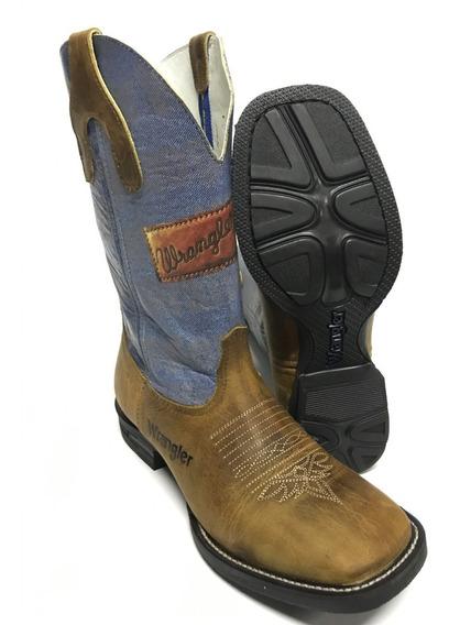 Bota Texana Masculina Wrangler Bico Quadrado Jeans