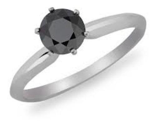Imagen 1 de 8 de Anillo Con Diamante Cultivado Redondo Negro 100 Pts.