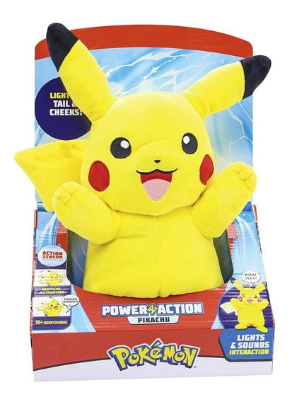 Pelúcia Pokémon Pikachu Com Luz E Som Power Action Dtc 4851