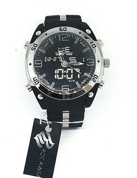 Reloj Rocawear Nuevo Original Caballero Negro Y Plata