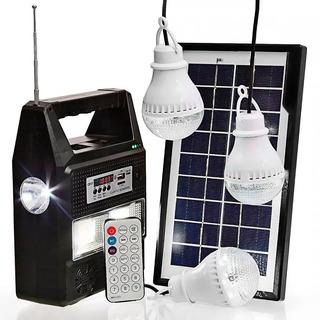 Bateria Portátil Placa Solar 3 Lâmpadas Led Mp3 Usb Camping