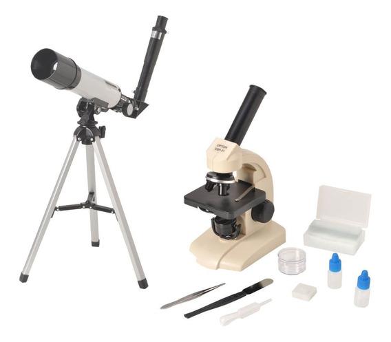 Kit Microscópio Biológico Monocular 70x Á 400x + Telescópio