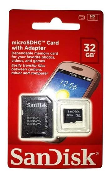 Cartão De Memória Sandisk 32gb Micro Sdhc Flash Card + Nf