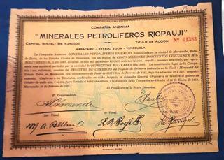 Dificil Titulo Accion Minerales Petroliferos Riopauji. 1921