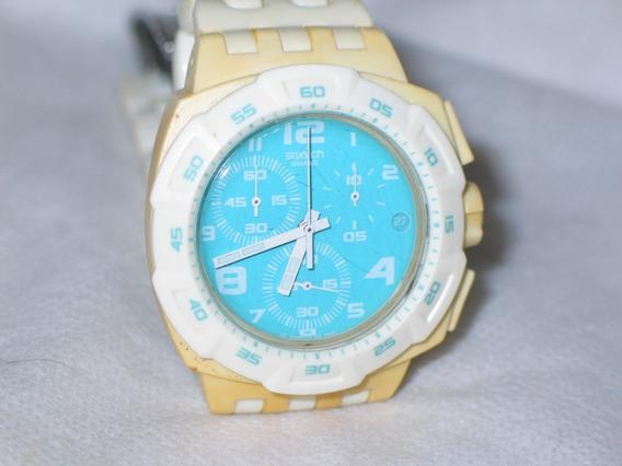 Relógio Swatch Swiss Branco E Verde Cronografo Raro