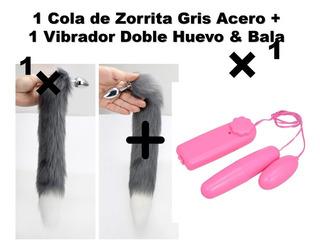 Lencería Cola Zorra Zorrita + Vibrador Doble Huevo Rosa Gatr