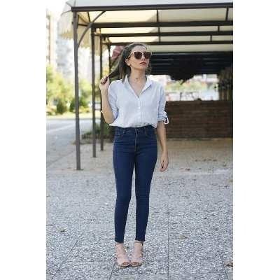 Jeans Pantalon De Dama Strech Corte Alto