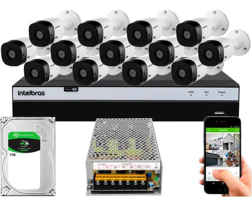Kit Cftv 13 Cameras Vhl 1220 1080 Intelbras Dvr 3116 S/ Cabo