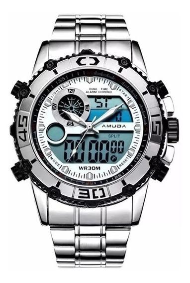 Relógio Amuda Original Prata Esportivo Promoção Top Barato