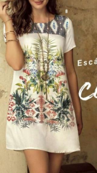 Vestido Colombiano Corto Semiajustado Estampado Ropa Playa