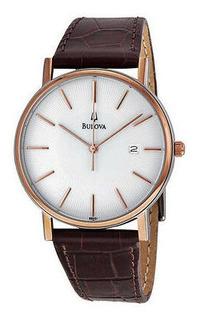Reloj Bulova 98h51 Dorado, Tablero Blanco, Pulso En Cuero.