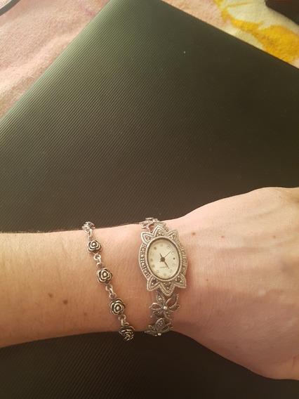 Relógio E Brinco Prata Puro 925