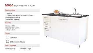 Y Mueble Bajo Mesada Platinum 140cm 30060c Blanco Blanco