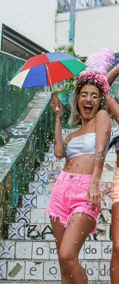 Shorts Jeans Lady Rock Coloridos Cos Alto Cintura Alta
