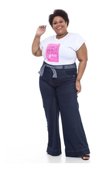 Calça Pantalona Plus Size Wonder Size Denim Jeans Azul
