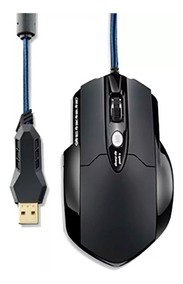 Mouse Warrior Gamer Laser 6 Botoes 3200 Dpi Preto Usb Ouro