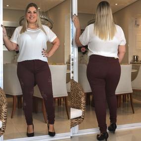 Calça Jeans Feminina Plus Size Hot Pants Lycra Escura Skinny