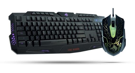 Kit Teclado Mouse Gamer Eagle Warrior G79 Led Multimedia /a