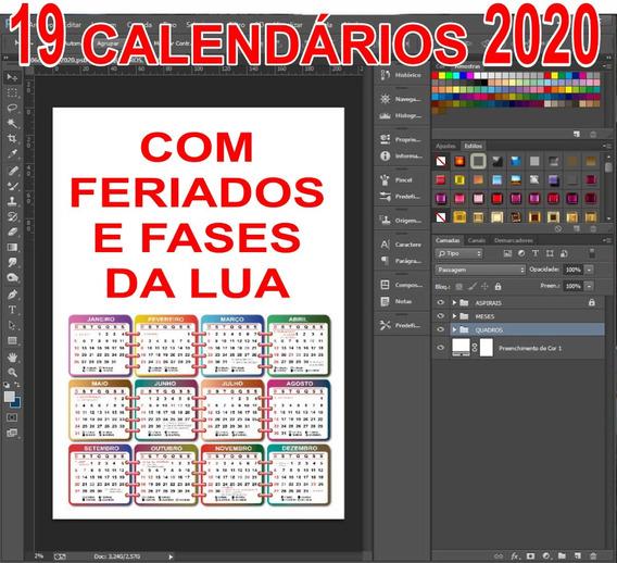 19 Arquivos Psd Calendários 2020 - Editávei No Photoshop