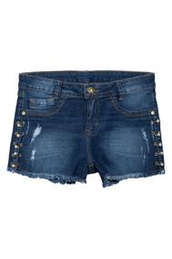 Shorts Jeans Juvenil Com Ilhós Ak Denin Azul