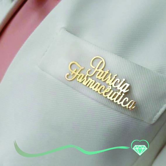 Broches Personalizados Nome Folheado Ouro 18k Com Garantia