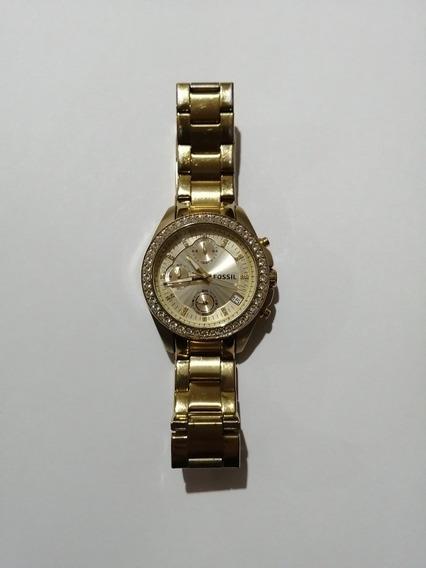 Reloj Fossil Es2683 Original Dorado Dama, Seminuevo