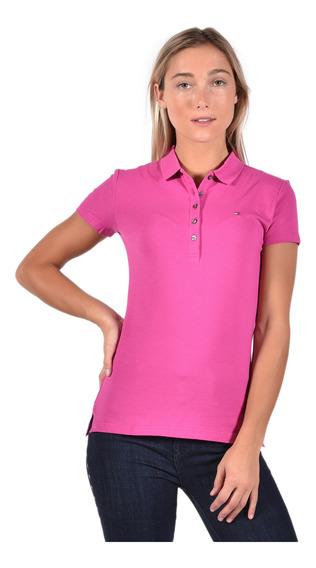 Polo Slim Fit Tommy Hilfiger Rosa Ww0ww23706-597 Mujer