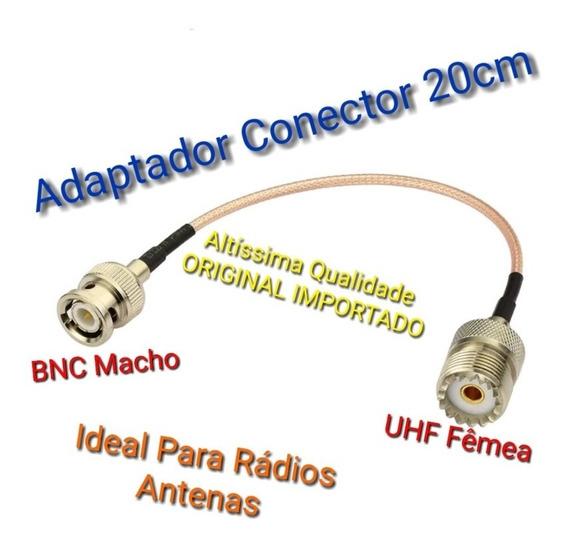 Cabo Adaptador Conector Uhf Fêmea / Bnc Macho 20cm Radios