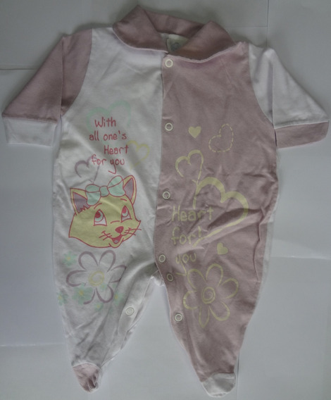 Macacão Bebê Gatinha Rosa C/ Branco Manga Longa - Menina