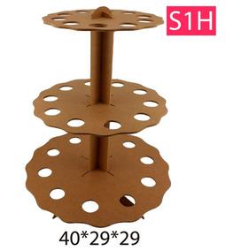 Base Stand Para Conos 3 Niveles Mdf Centro De Mesa Candybar